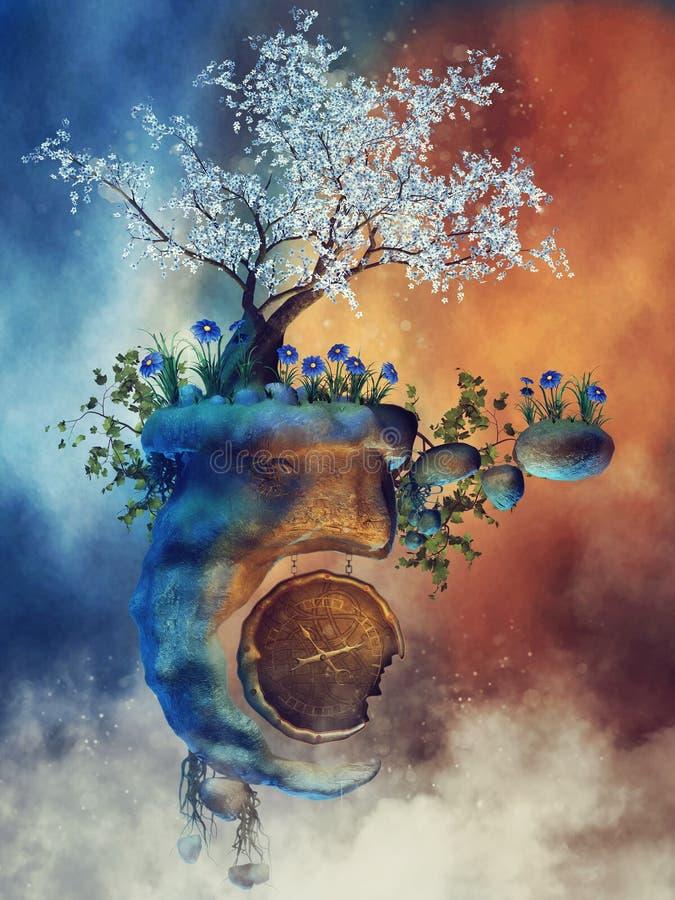 Île de flottement avec un arbre magique illustration de vecteur