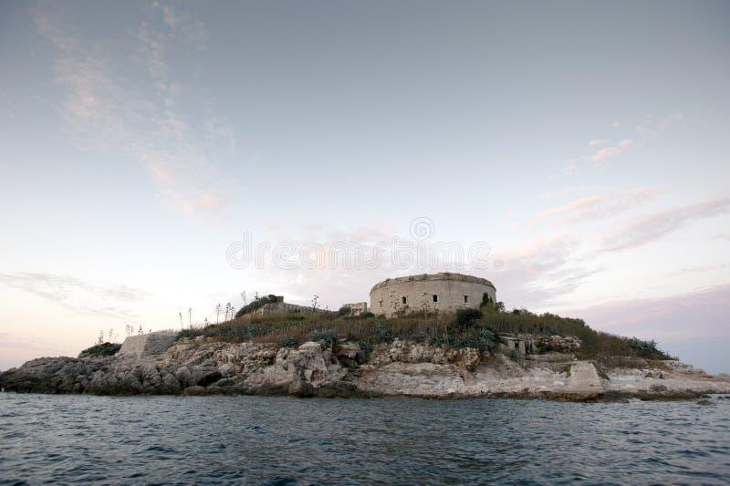 Île de forteresse de Mamula, l'entrée à la baie de Boka Kotorska, Monténégro photographie stock libre de droits