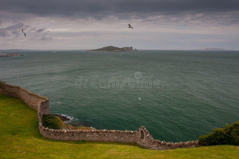Île de l'oeil de l'Irlande prise de Howth, Dublin, Irlande images libres de droits