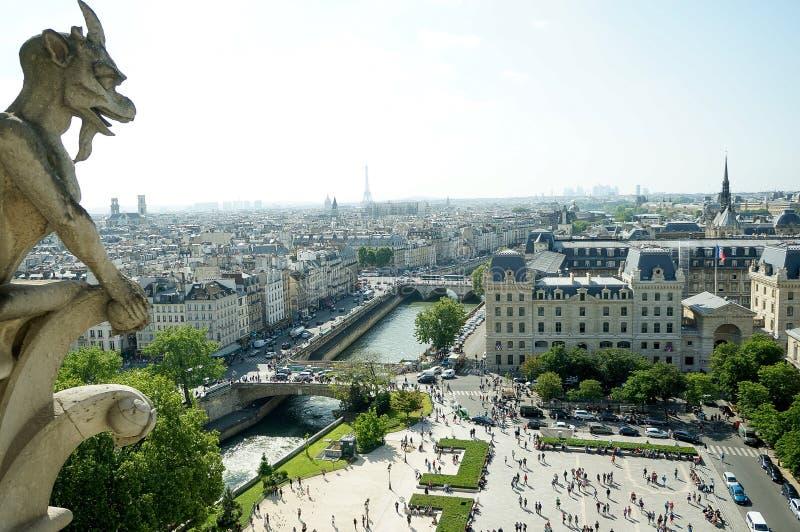 île de la Cité, Paris, France. View on the famous Ile de la Cité, from the top of the Cathedral Notre-Dame royalty free stock photography