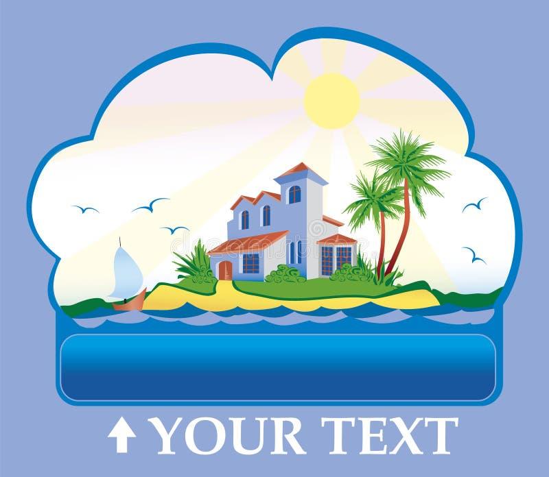 île de maison tropicale illustration de vecteur