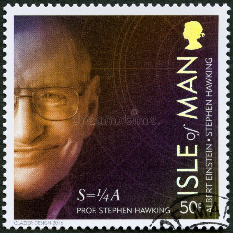 ÎLE DE MAN - 2016 : expositions Stephen William Hawking né 1942, physicien, 100 ans de relativité générale photographie stock