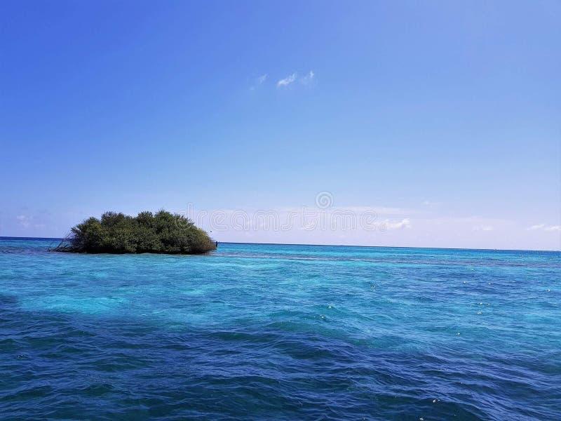 Île de mer bleue des Maldives petite photo libre de droits