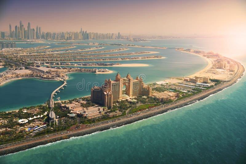 Île de paume au coucher du soleil, Dubaï photographie stock