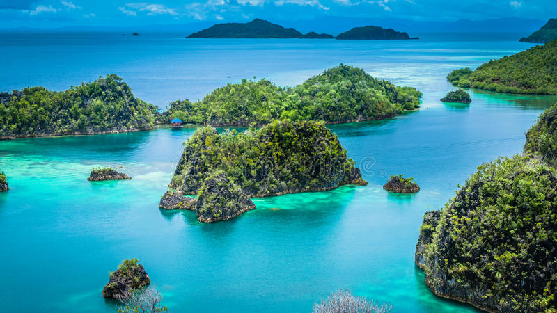 Île de Pianemo, lagune bleue, Raja Ampat, Papouasie occidentale, Indonésie photographie stock