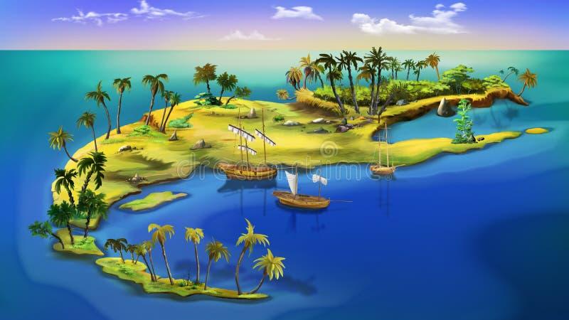 Île de pirate Vue supérieure illustration stock