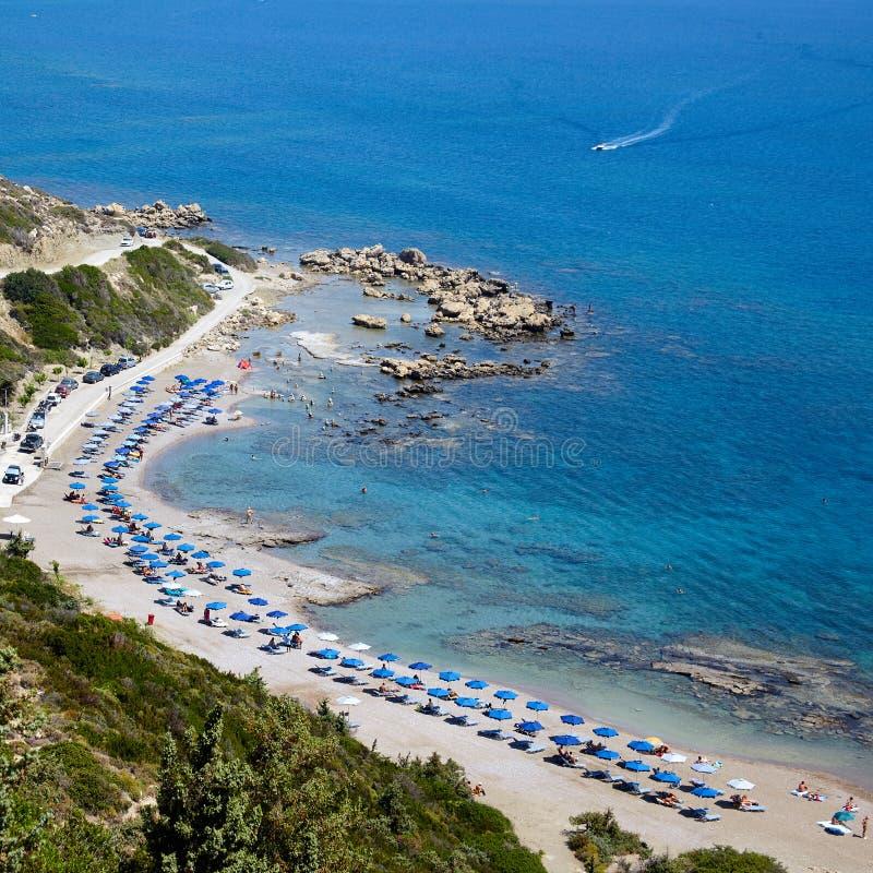 Île de Rhodos, plage de nudiste de Faliraki, Grèce photos stock