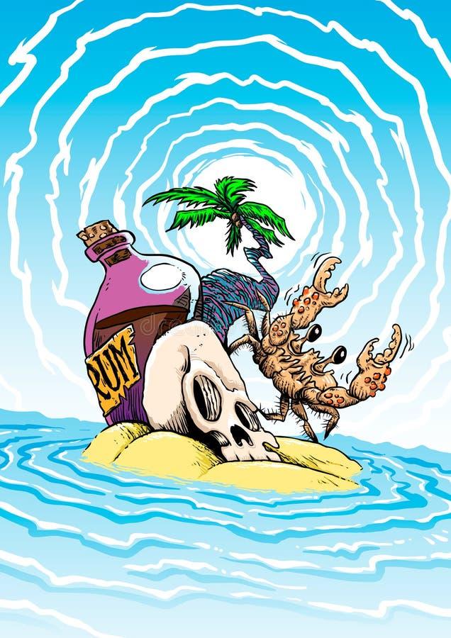 Île de rhum de pirate illustration stock