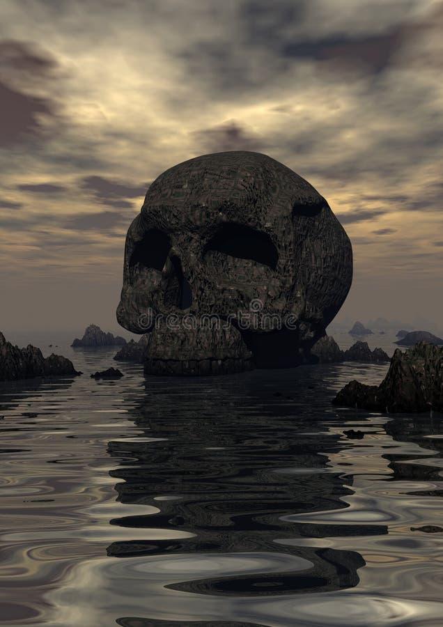 Île de roche de crâne illustration libre de droits
