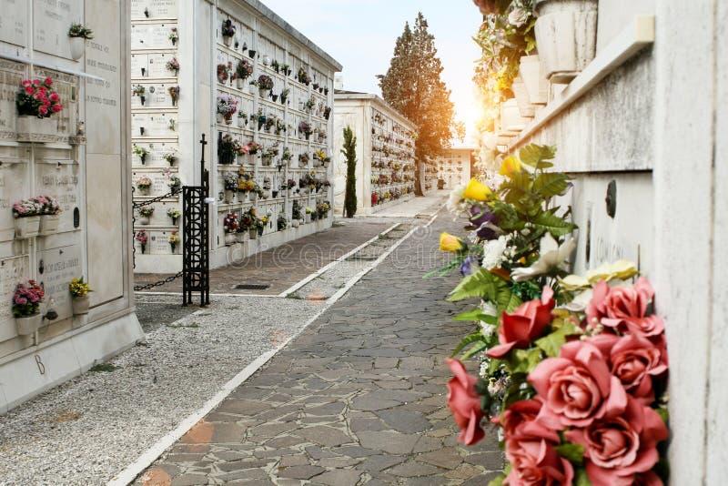 Île de San Michele Allée dans le cimetière Coucher du soleil photos libres de droits