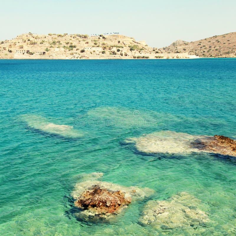 Île de Spinalonga, une forteresse vénitienne et colonie de lépreux (Crète, G photographie stock libre de droits