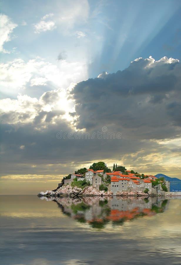 Île de Sveti Stefan images stock