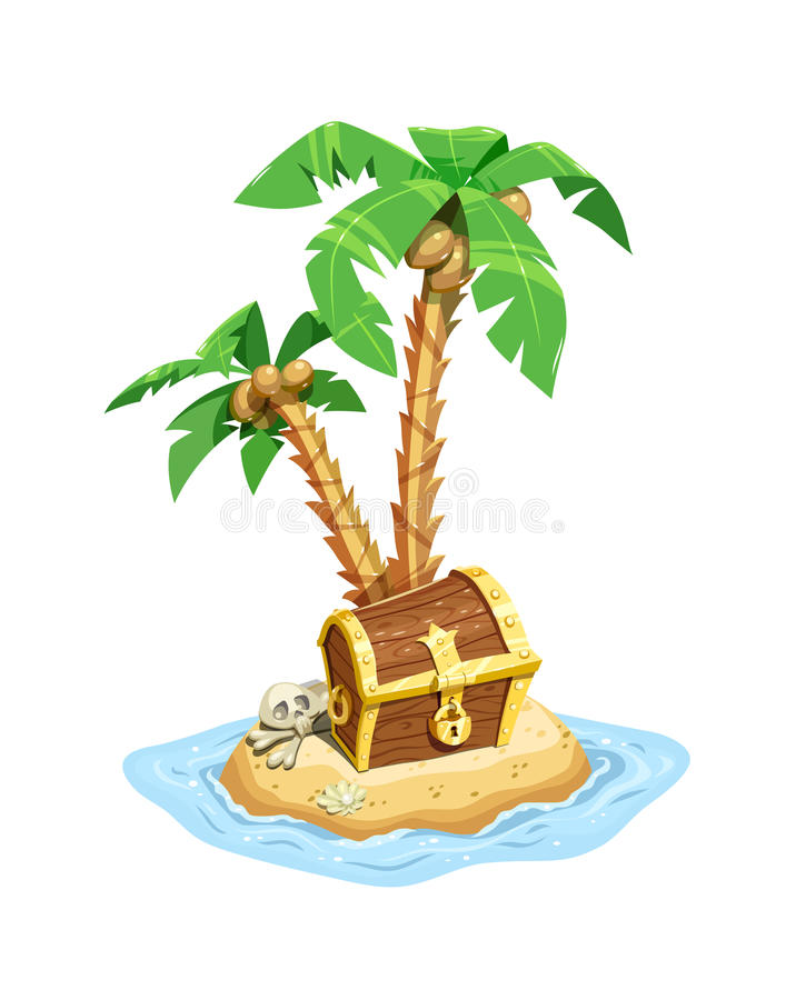 Île de trésor de pirates avec le coffre et les paumes illustration libre de droits