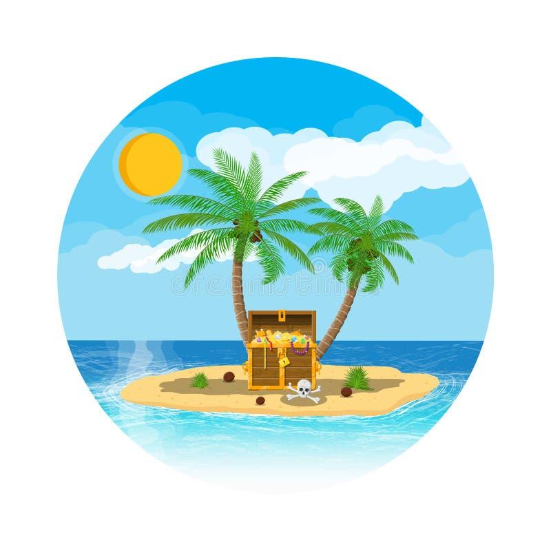 Île de trésor de pirates avec le coffre illustration libre de droits