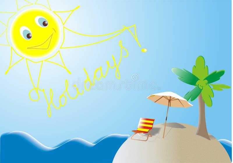 Île de vacances d'été illustration de vecteur