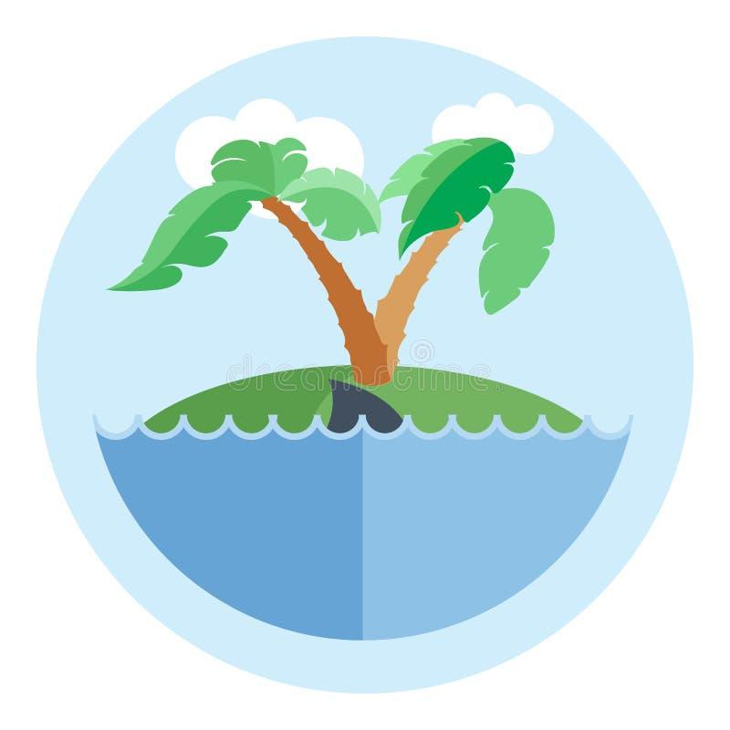 Île de vecteur de Digital avec de l'eau, palmier illustration de vecteur