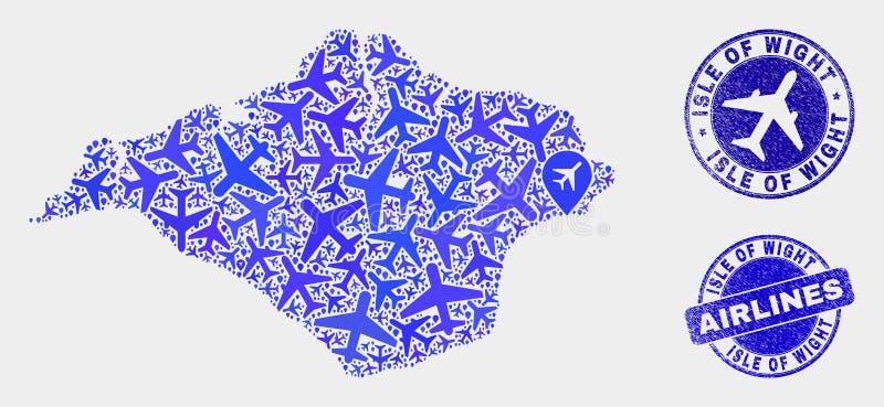 Île de vecteur de mosaïque de ligne aérienne de carte de Wight et de joints grunges illustration libre de droits