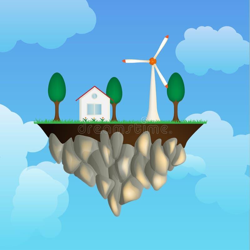 Île de vol avec la maison un générateur de vent illustration de vecteur