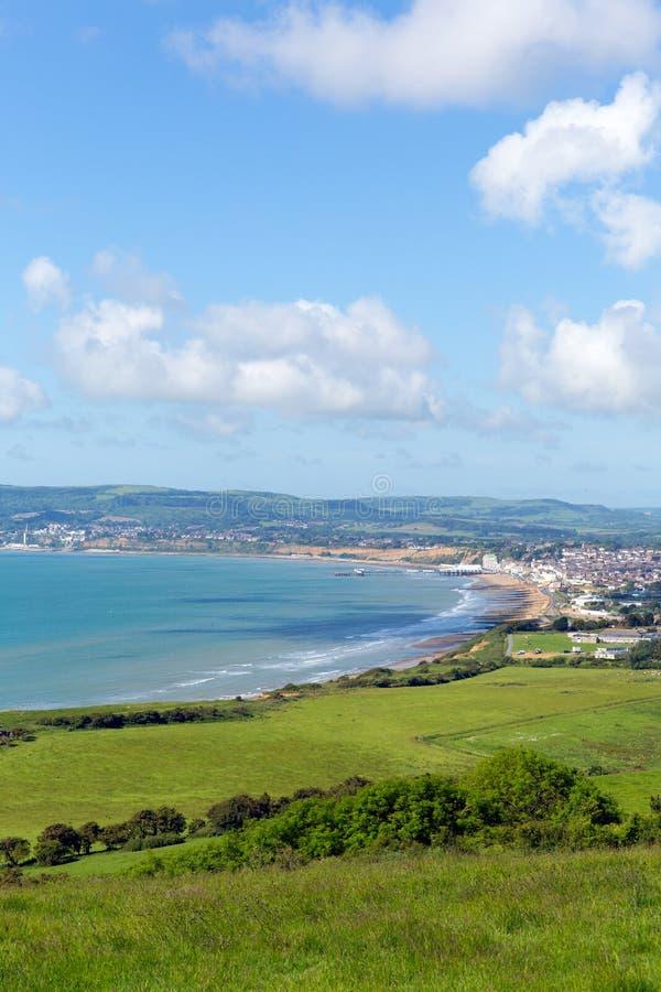 Île de vue de côte de Wight vers Shanklin et Sandown photo libre de droits