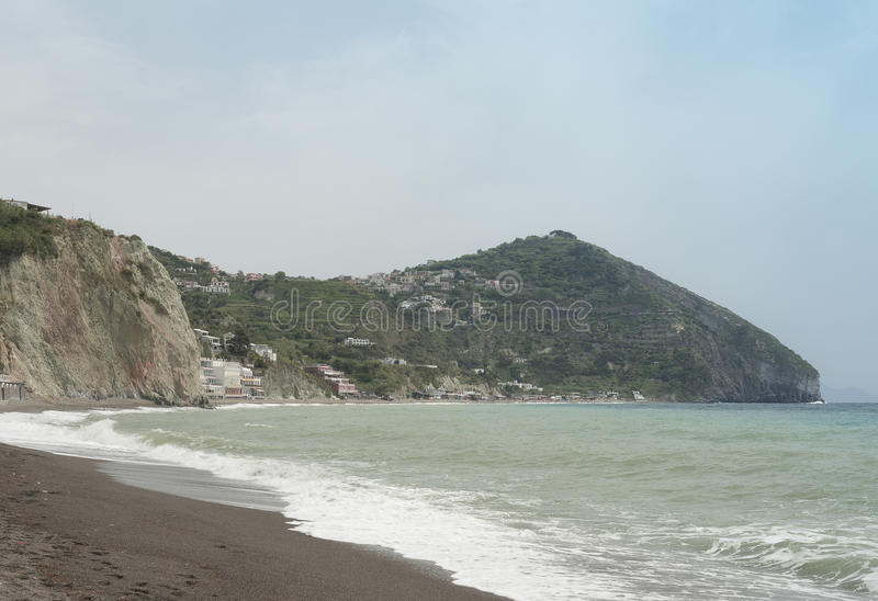 Île de vue de Capri des ischions, fumerolles de plage photo libre de droits