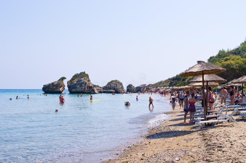 Île de Zakynthos de plage de Porto Zorro photographie stock