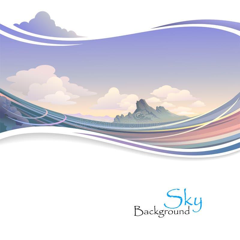 Île en océan et vaste ciel illustration libre de droits