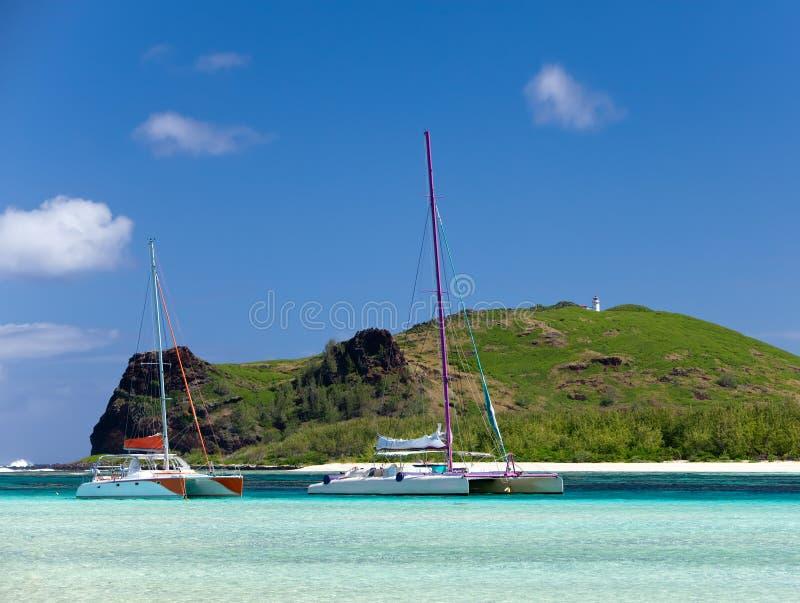 île Gabriel.Mauritius. Catamarans image stock