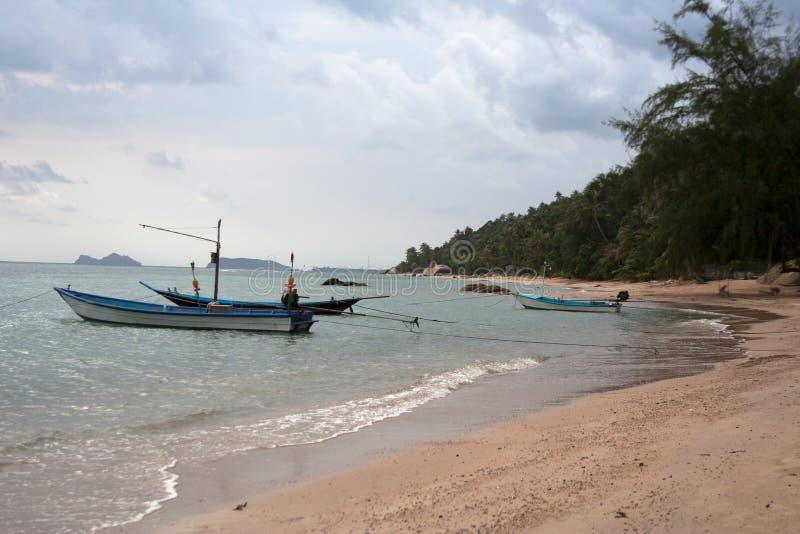 Île la Riviera avec les bateaux de long-queue et la plage de sable image libre de droits