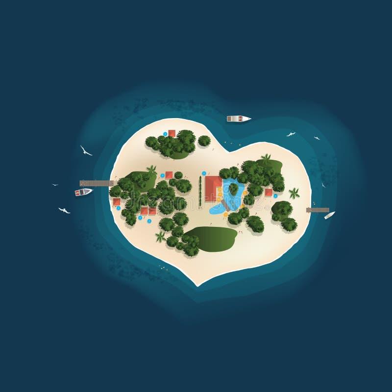 Île, paradis, vue supérieure, forme de coeur, rêve illustration de vecteur