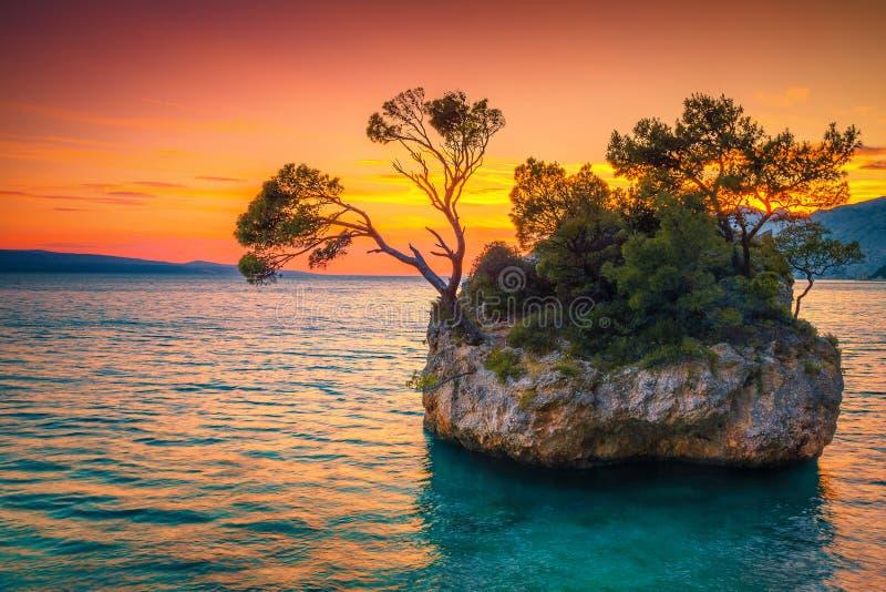 Île rocheuse et mer Adriatique au coucher du soleil, Brela, Dalmatie, Croatie photo stock