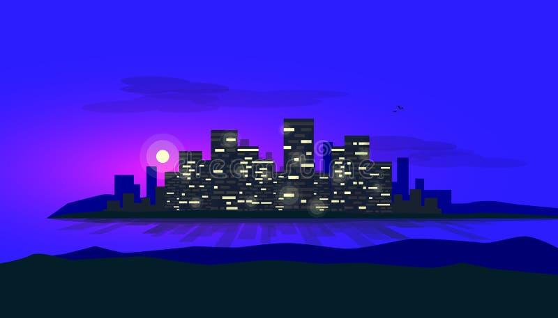 Île rougeoyante de ville de nuit sur l'horizon de baie avec la lune à l'arrière-plan illustration stock