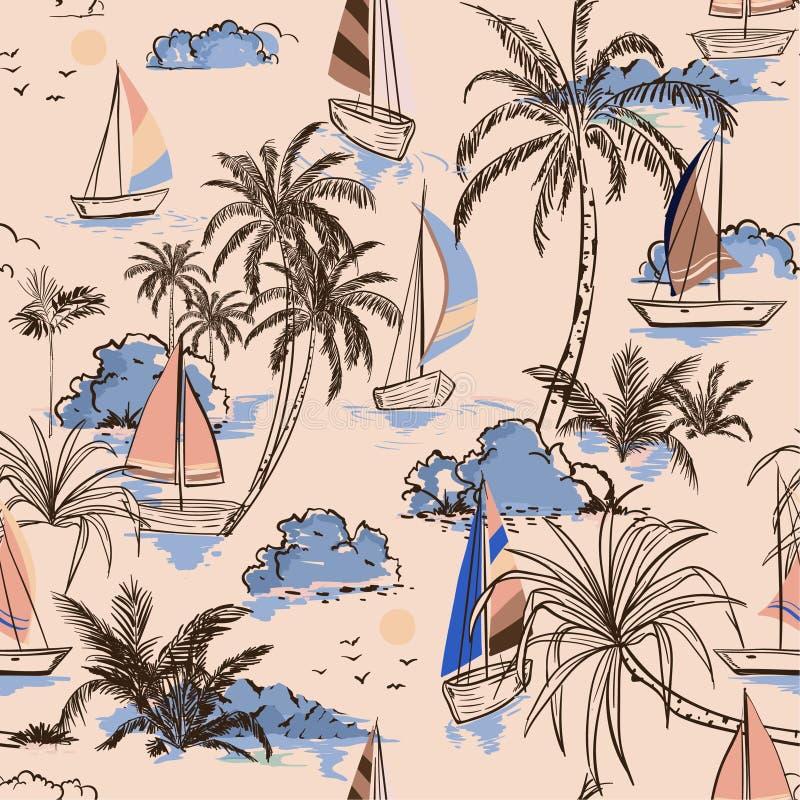 Île sans couture de modèle de vintage d'été belle avec le bateau et le W illustration de vecteur