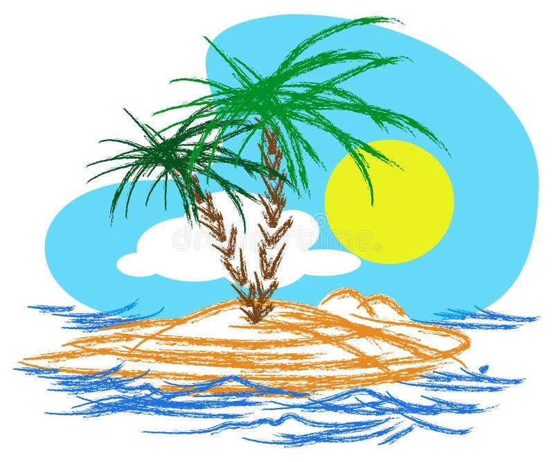 Île tropicale illustration de vecteur