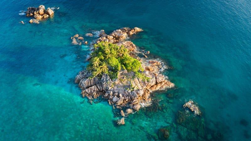 Île tropicale avec la mer et paume prise du bourdon Photo aérienne des Seychelles Île de St Pierre photographie stock libre de droits