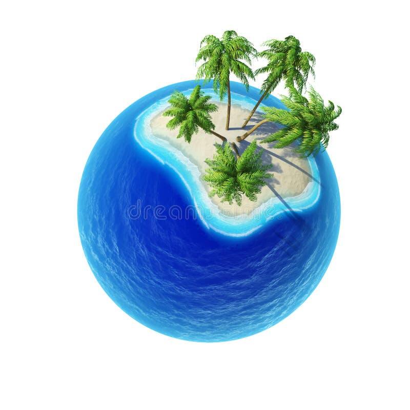 Île tropicale avec les paumes et l'isolat vide d'océan photo libre de droits