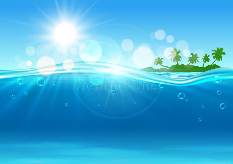 Île tropicale dans l'océan pour la conception de fond illustration de vecteur