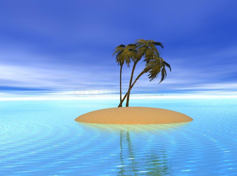 Île tropicale de paume illustration de vecteur