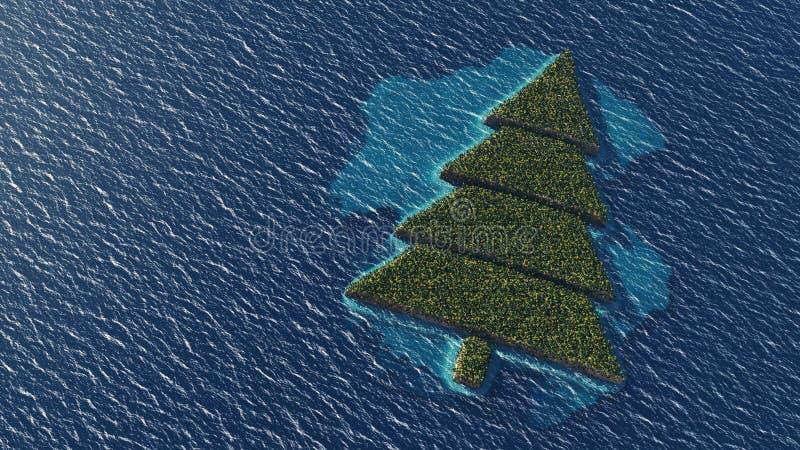 Download Île Tropicale En Forme D'arbre De Noël Illustration Stock - Illustration du présent, sable: 77155154