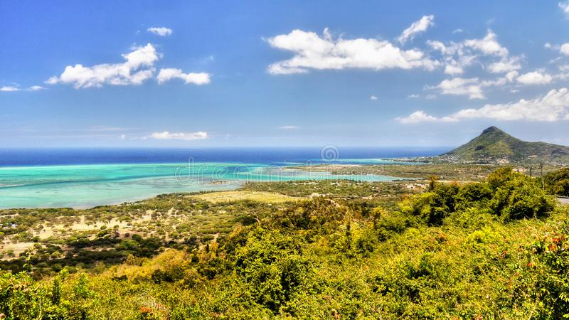 Île tropicale Mauritius Aerial Panoramic View photos stock