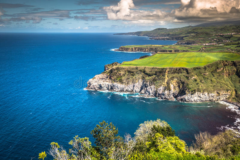 Île verte dans l'Océan Atlantique, sao Miguel, Açores, Portugal images stock