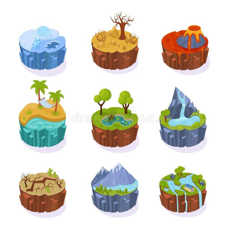 Îles 3d isométriques, pour le jeu, avec le paysage de la terre illustration libre de droits