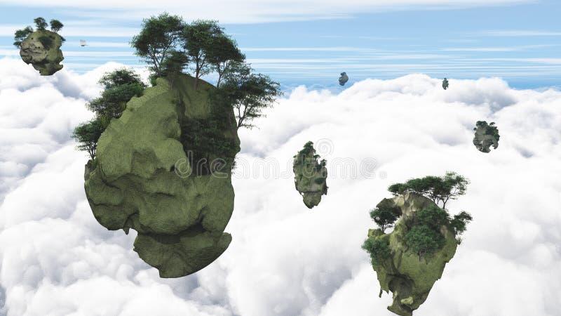 Îles de flottement illustration stock