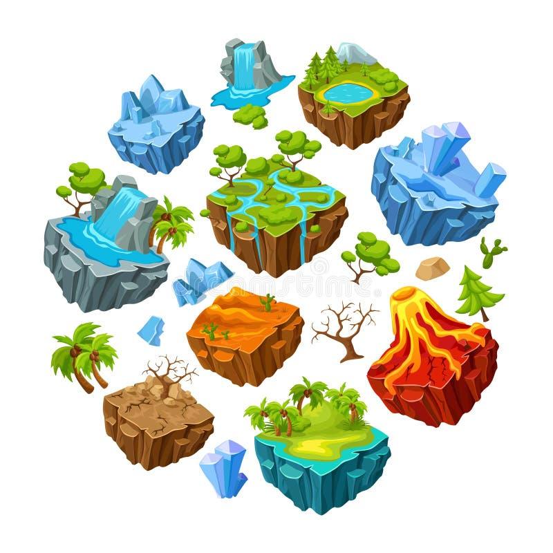 Îles de jeu et ensemble d'éléments de paysage illustration stock