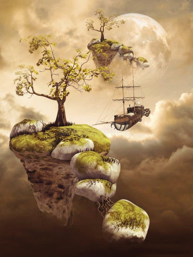 Îles de vol dans les nuages illustration de vecteur