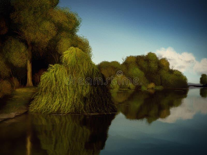 Îles des arbres - peinture de Digitals photo libre de droits
