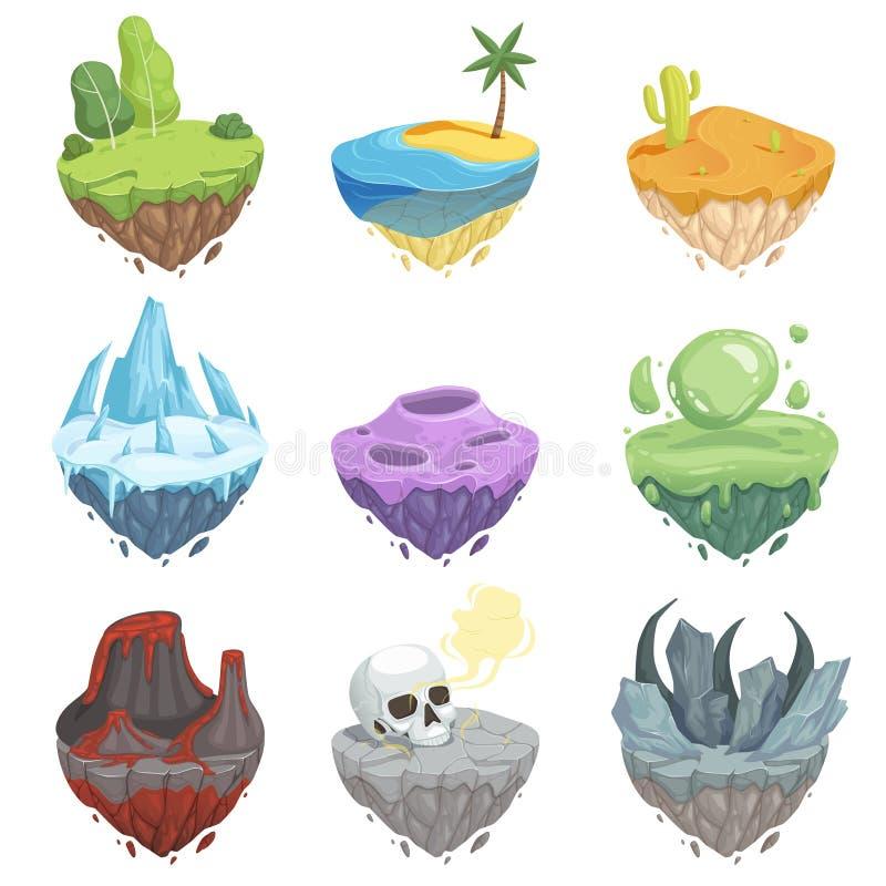 Îles isométriques Paysage de bande dessinée avec l'objet de vecteur de surface de lave de volcan d'au sol d'herbe de glace de roc illustration de vecteur