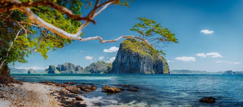 Îles tropicales épiques impressionnantes de belle nature du sud exotique, Philippines, Palawan photos libres de droits