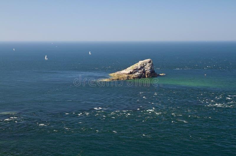 Îlot d'Amas du Cap au chapeau Frehel, la Bretagne, France photo stock