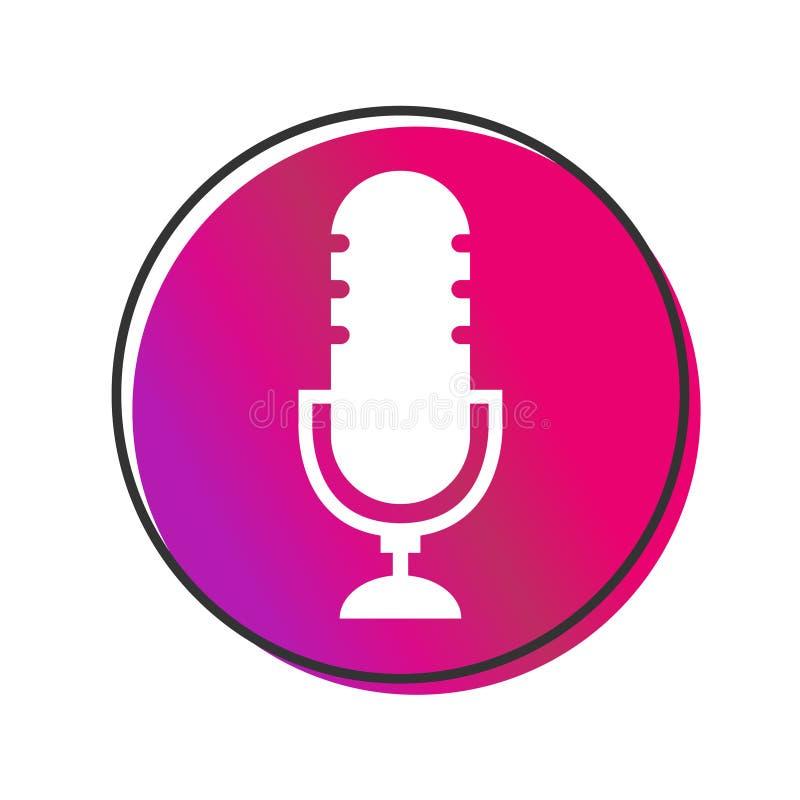 Ραδιο vecor εικονιδίων Podcast στο άσπρο υπόβαθρο Επιτραπέζιο μικρόφωνο στούντιο απεικόνιση αποθεμάτων