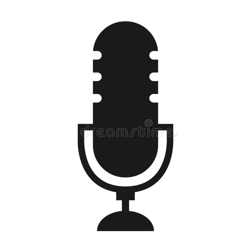 Ραδιο vecor εικονιδίων Podcast στο άσπρο υπόβαθρο Επιτραπέζιο μικρόφωνο στούντιο διανυσματική απεικόνιση